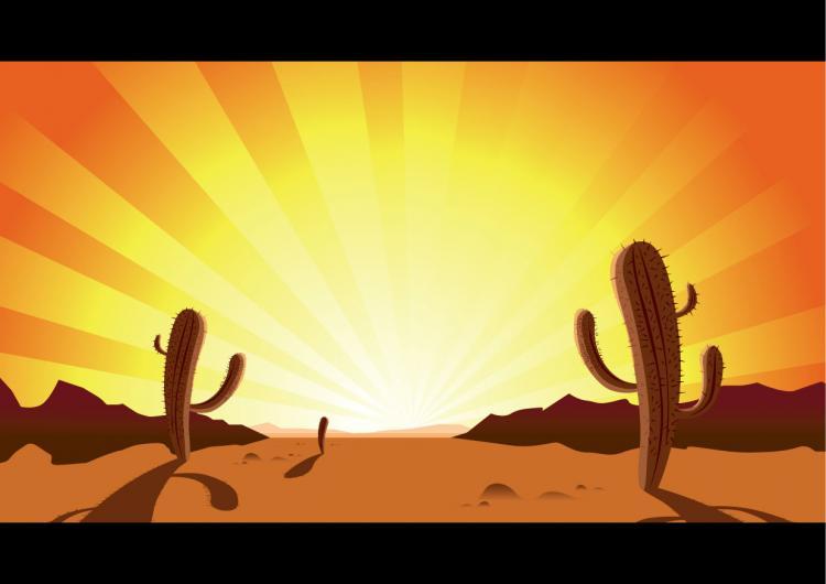 free vector Sunset desert cactus clip art
